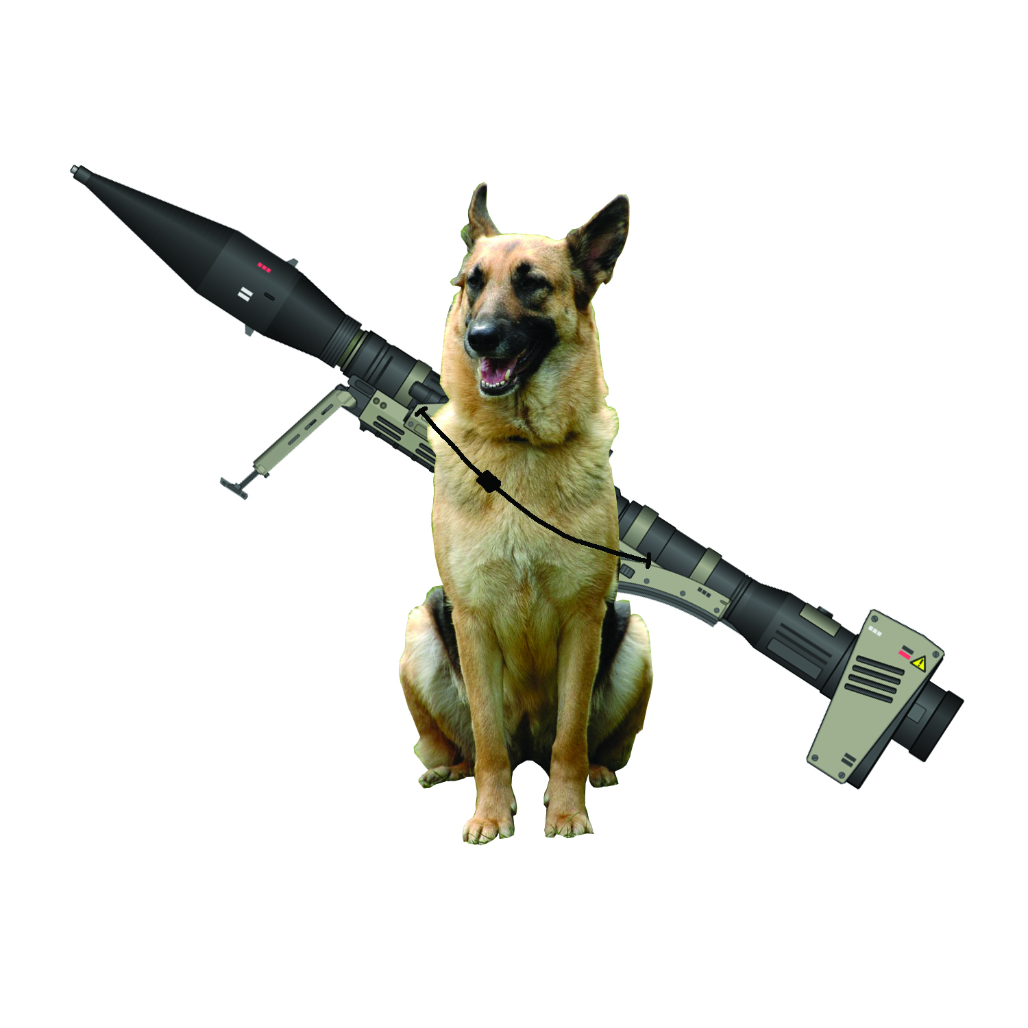 A dog with a bazooka attached to its back