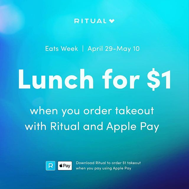 @ritual_co We're so excited to be a part of Eats Week with Ritual and Apple Pay! Check out our $1 items in their app and make sure to order with Ritual and pay with Apple Pay to take advantage of these limited-time offers.  #EatsWeek #MyRitual
