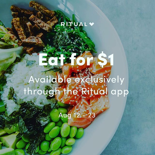 1. DOLLAR. LUNCH. We're so excited to be a part of $1 Food Fest with @ritual_co! Check out our $1 items in the app by downloading and entering promo code GIWAFFAUG. Order with Ritual to take advantage of these limited-time offers. #MyRitual #DOLLARFEST #giwakitchen