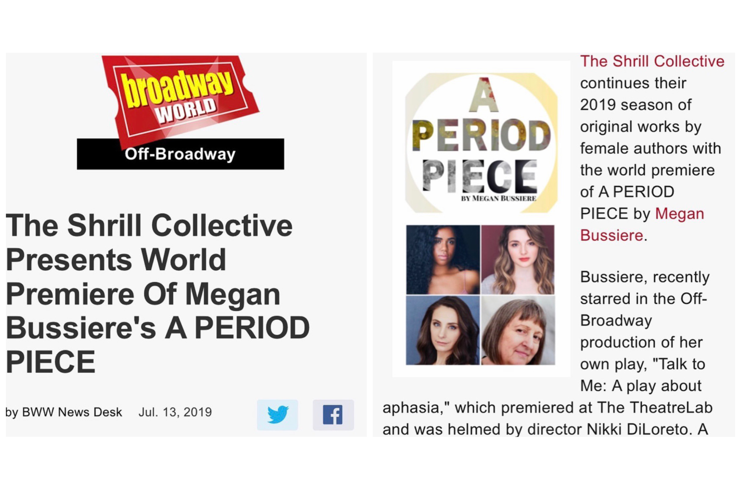A Period Piece Casting Announcement & Press Release - TICKETS ARE ON SALE NOWJuly 14, 2019