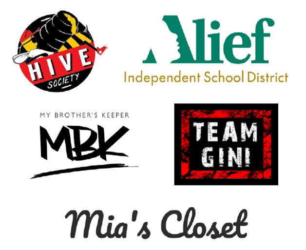 LOCAL IMPACT - Team GINI                             Alief Independent School District                 Mia's Closet                                    My Brother's Keeper                 Hive Society Foundation                                             And several life causes