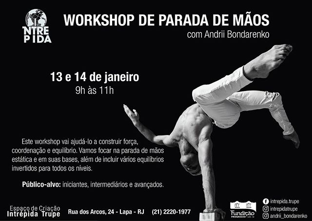 Good morning Rio de Janeiro! Yes, I'm hosting a handstand workshop on January 13-14th from 9am until 11am! Two days of different handstand routine  You can book separate days as well  LIMITED SPOTS!!! The early birds have a discount's, so don't wait and book now!  Let's have fun and see the world UPSIDE DOWN with me🤸♂️🤸♂️🤸♂️ ________________ @gymnasticbodies @instagymnastdancers @baristiworkout  @falsegrip @super_athletes @cirquedusoleil @yoga @exerciseguide @workoutroutine @barstarzz @yogachannel @yogapractice @yoga.vids ___________________  #cirquedusoleil  #gymnasticbodies  ___________________ #andriibondarenko #йога #гимнастика #운동 #gymnastics #acroyoga #acrobatics #yoga #yogaeverywhere #yogachallenge #falsegrip #handstand #handbalancing #workoutmotivation #workout_professionals #riodejaneiro #rio #brazil #thisismyyoga
