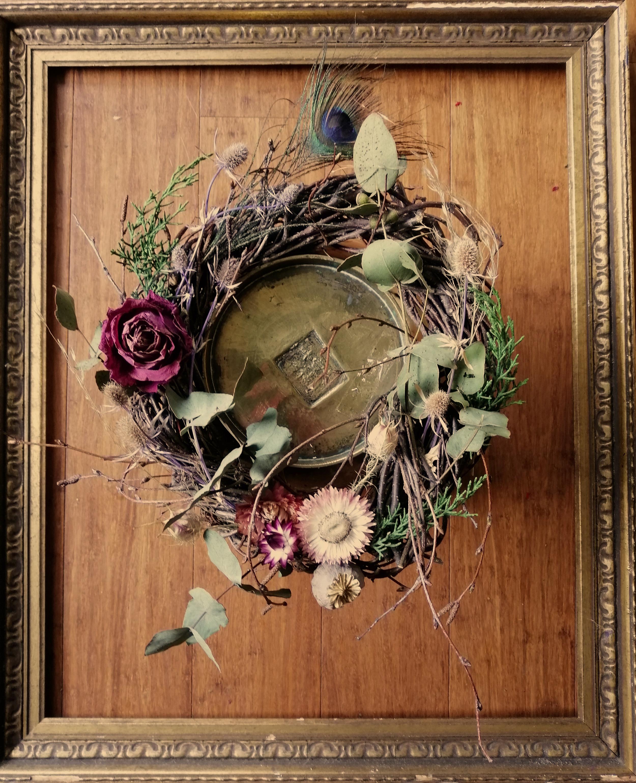 dried flower yuletide wreath
