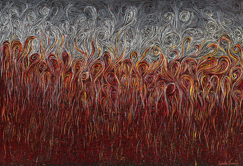 3. Linda James,  Fire Fire Scorching Fire , 2017, acrylic on paper, 60 x 77 cm $1,900