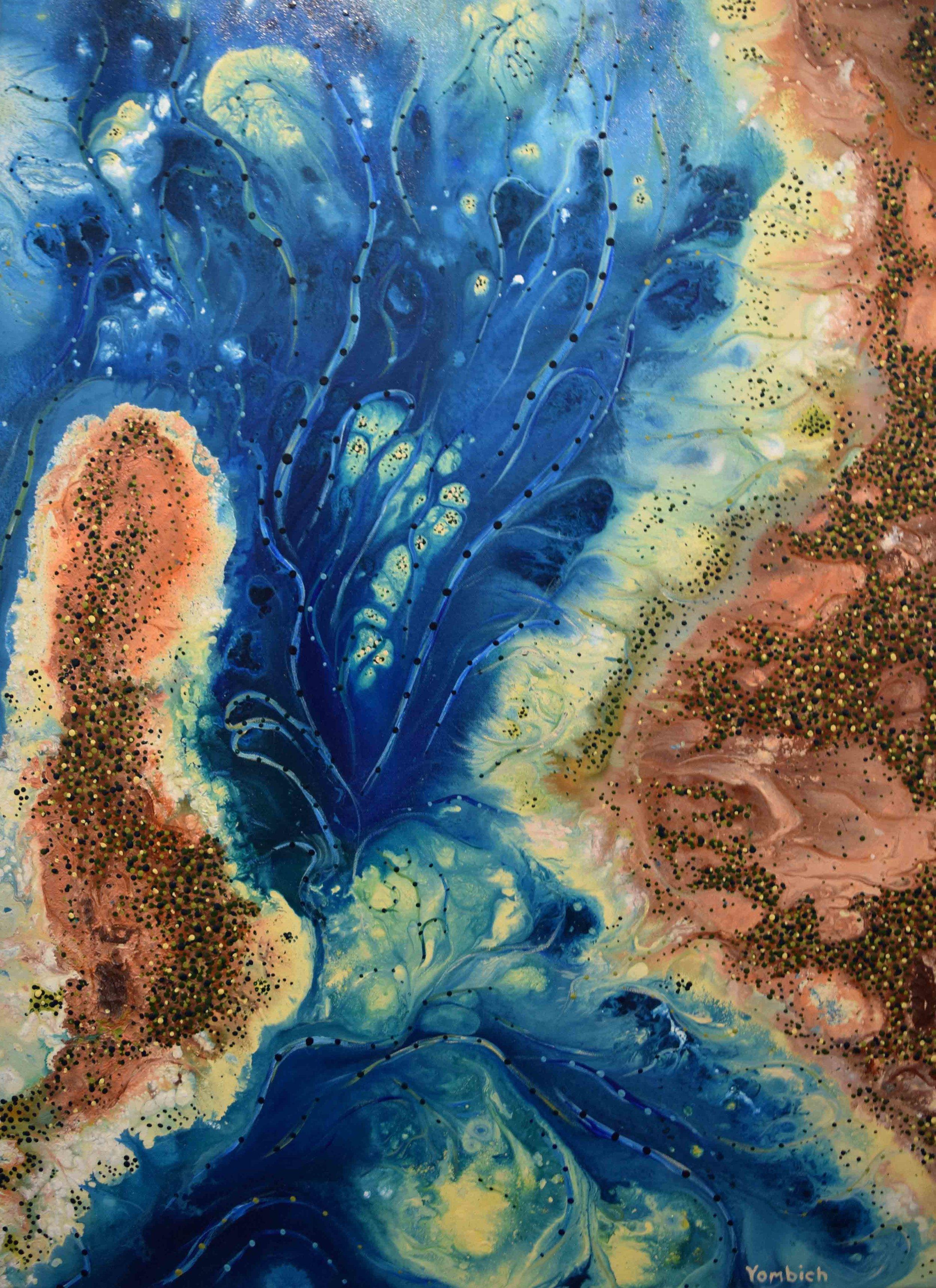 8. Bradley Kickett,  Shoalwater,  2019, acrylic on canvas, 110 x 80 cm $2,400