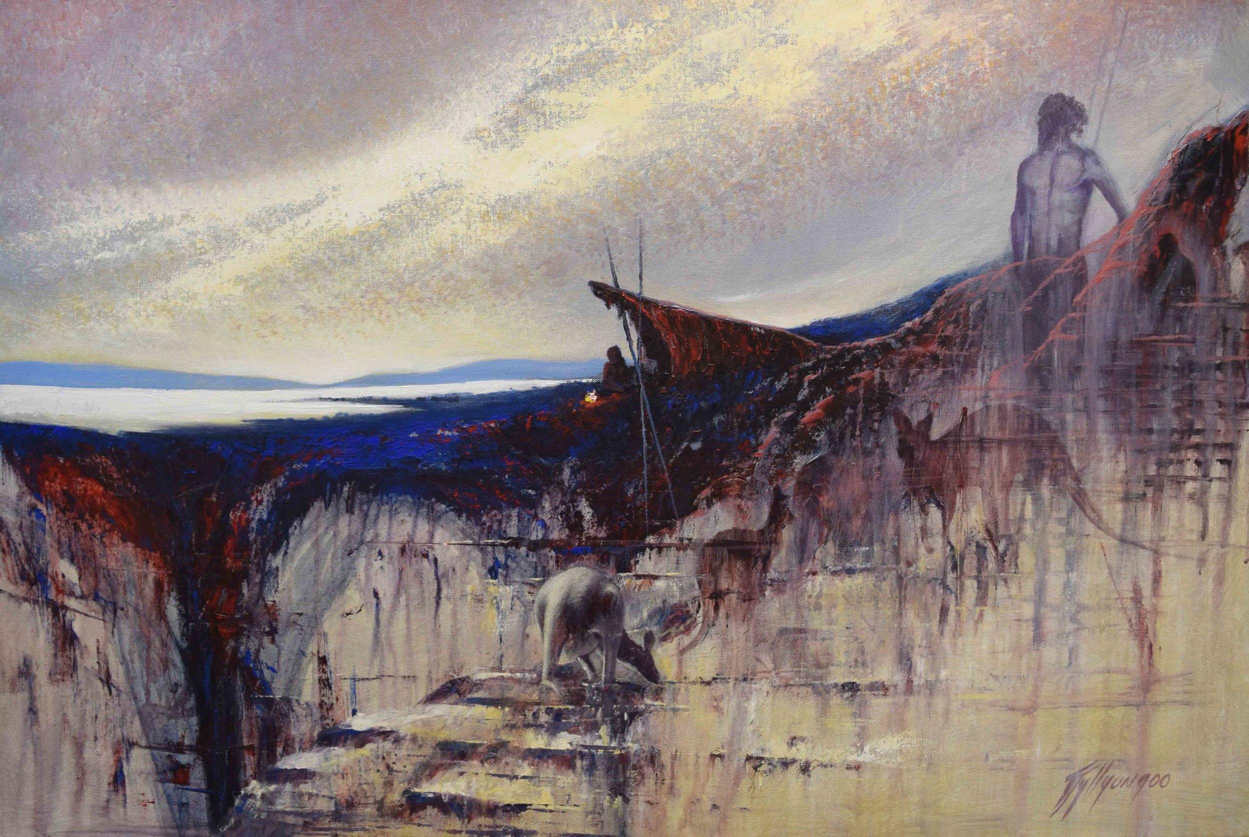 11. Tjyllyungo Lance Chadd,  The Huntsman,  2017, acrylic on canvas, 60 x 90 cm $5,000