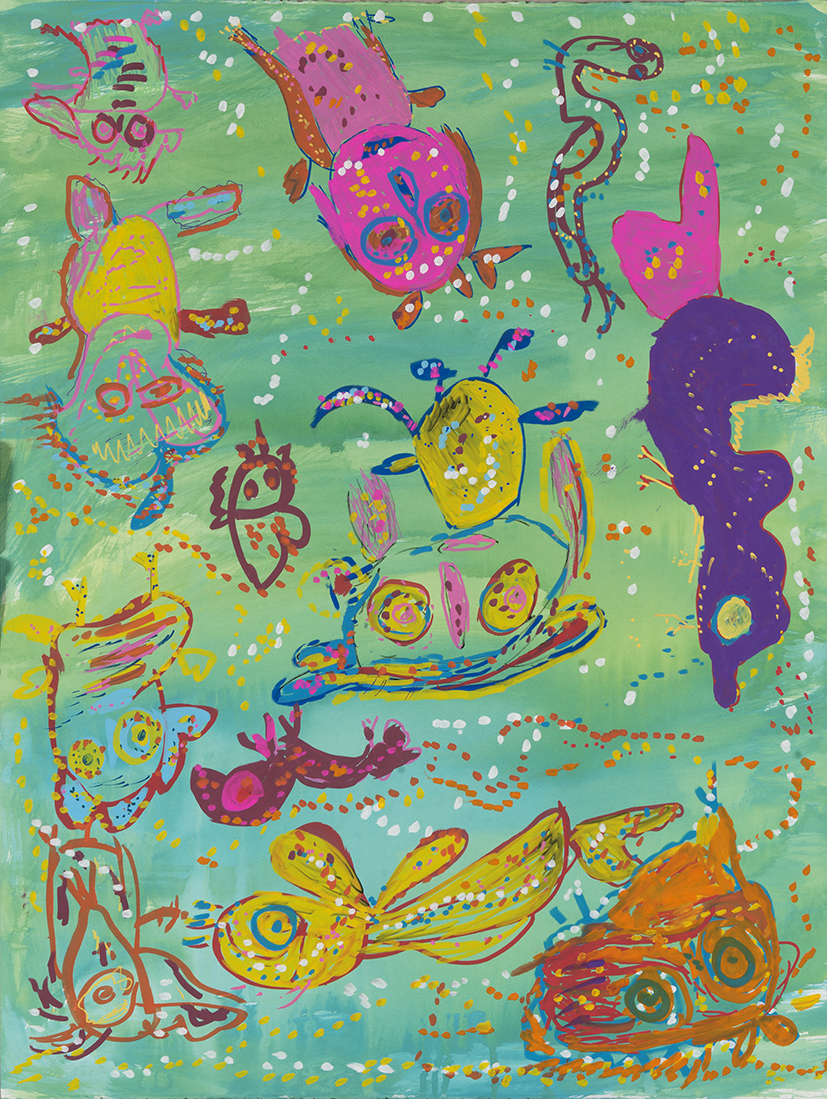 12. Mandy White,  Cheely Girls, Pig and the Devil Playing Red Tail Farm , 2018, ink, acrylic on paper, 92 x 72 cm $690