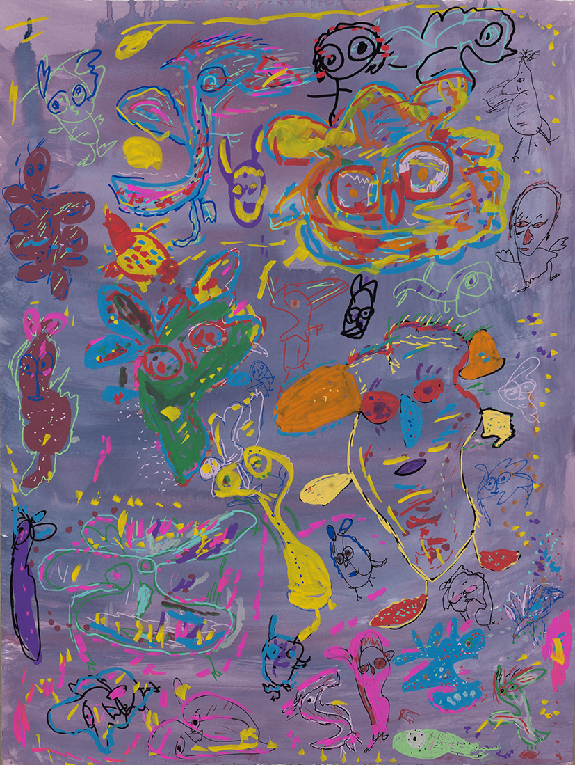 13. Mandy White,  Boogie Monsters and Fairies,  2018, ink, acrylic on paper, 92 x 72 cm $690