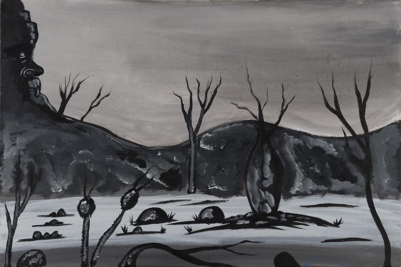 16. Daniel Roe,  Black and White Landscape,  2018, acrylic on canvas, 60 x 90 cm $350