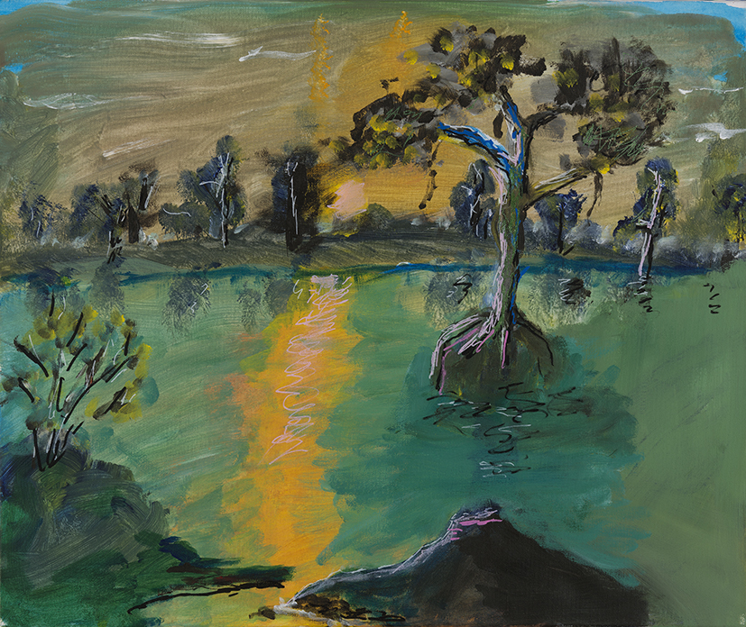 18. Lewis Nannup,  Green Trees , 2018, acrylic on canvas, 51 x 61 cm $600