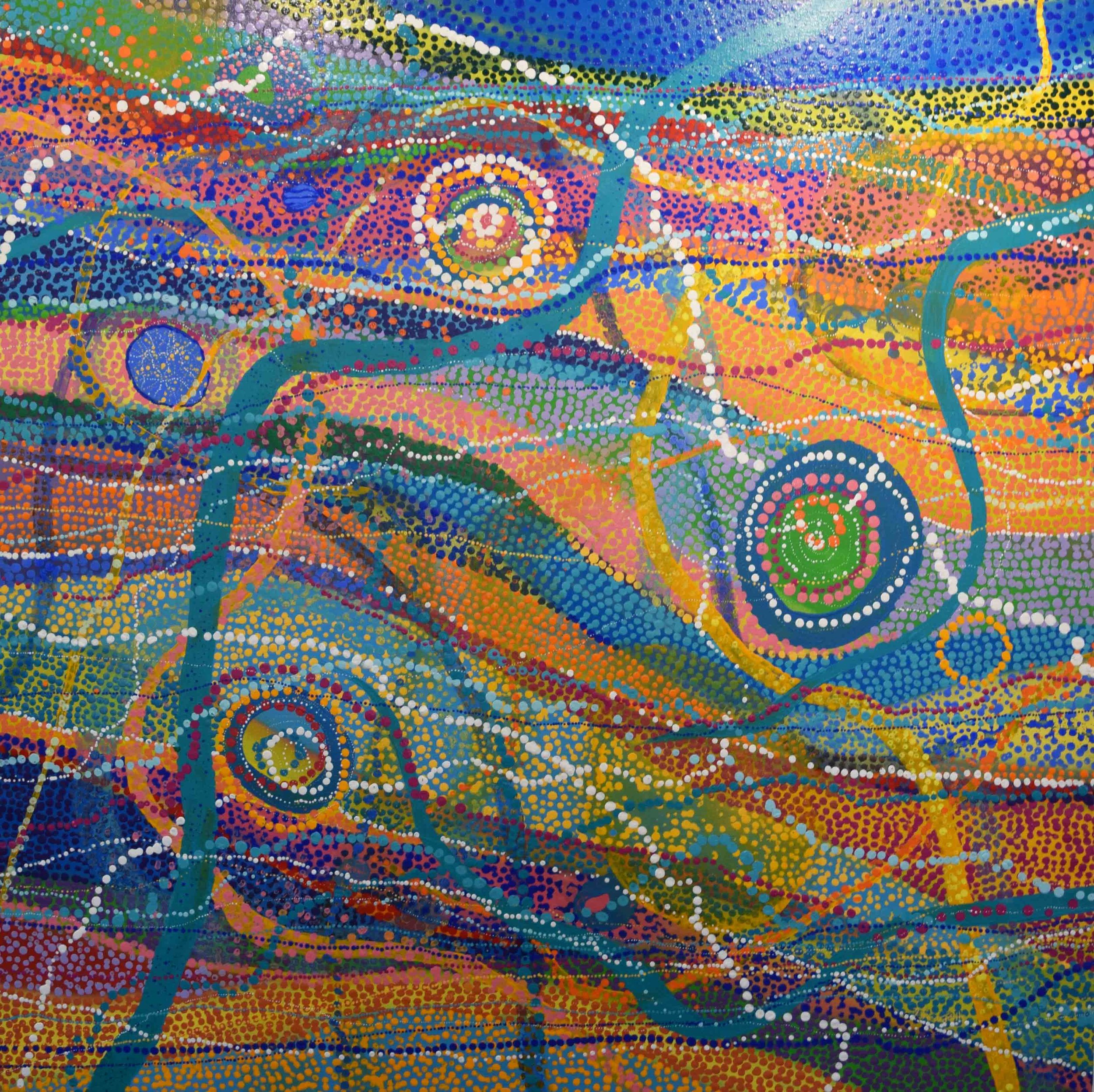 21. Deborah Bonar-Mills,  Beautiful Ocean Beaches,  2019, mixed media on Belgian linen, 102 x 102 cm $4,310
