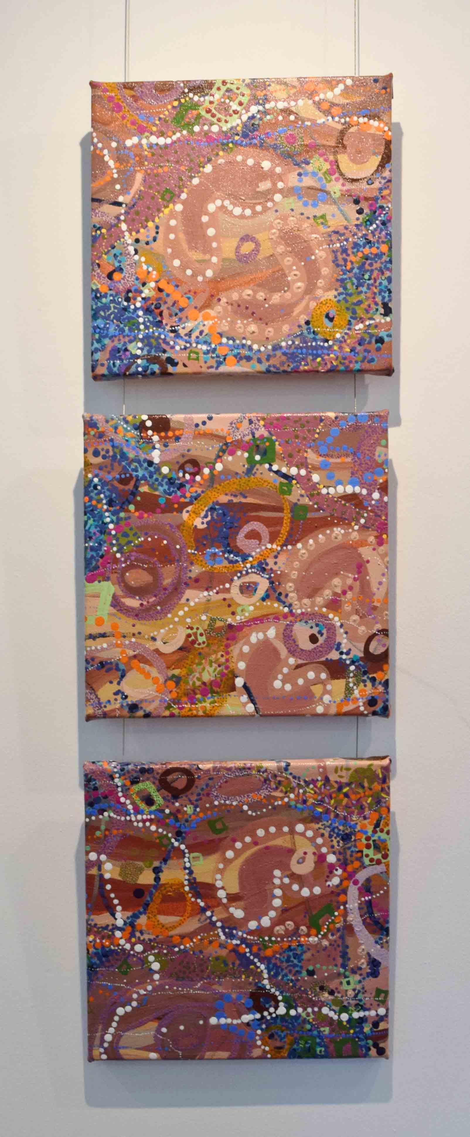 22-24. Deborah Bonar-Mills,  Estuary 1, 2, 3 , acrylic, oil, ochre on canvas, 28 x 28 cm each $690 each