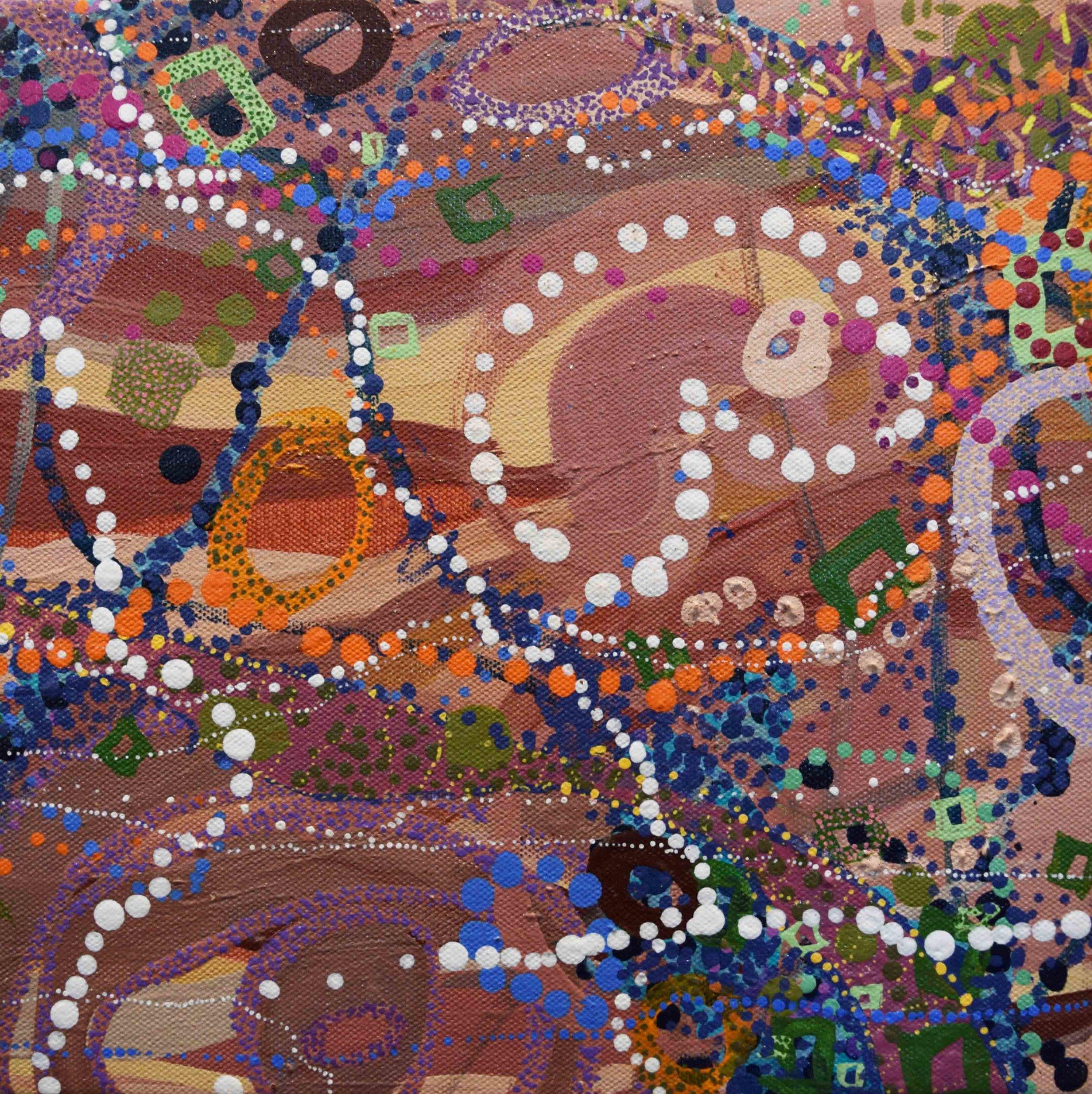 24. Deborah Bonar-Mills,  Estuary 3 , acrylic, oil, ochre on canvas, 28 x 28 cm $690