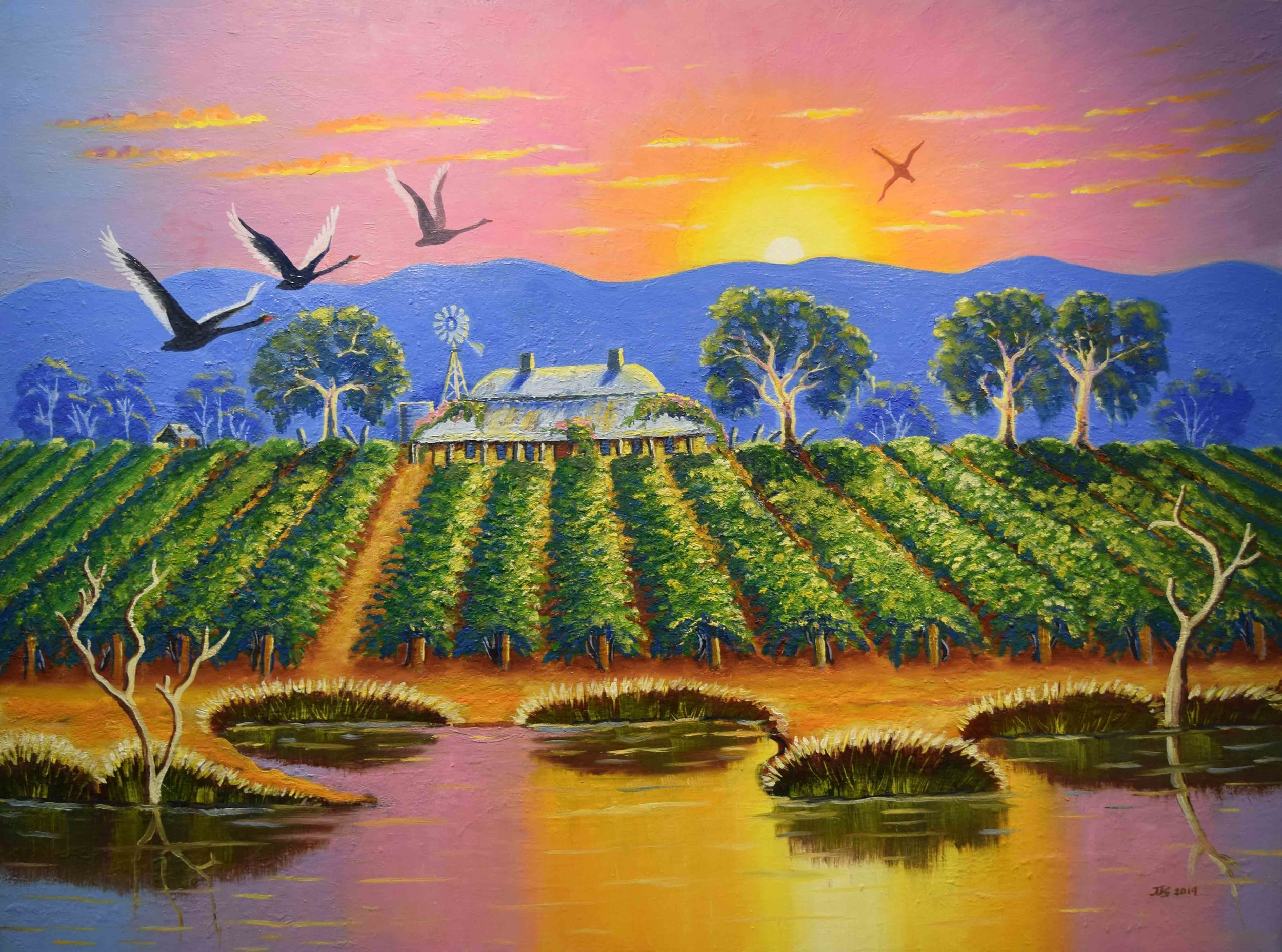 27. Jeanette Garlett,  Memories of the Swan Valley , 2019, oil on canvas, 76 x 101 cm $1,540