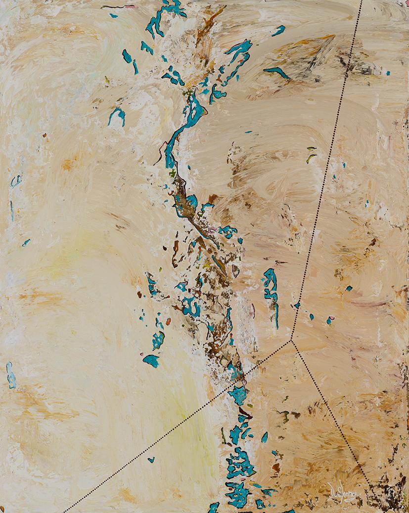 29. Rohin Kickett,  Yenening Lakes , 2018, acrylic on linen, 100 x 80 cm $1,500