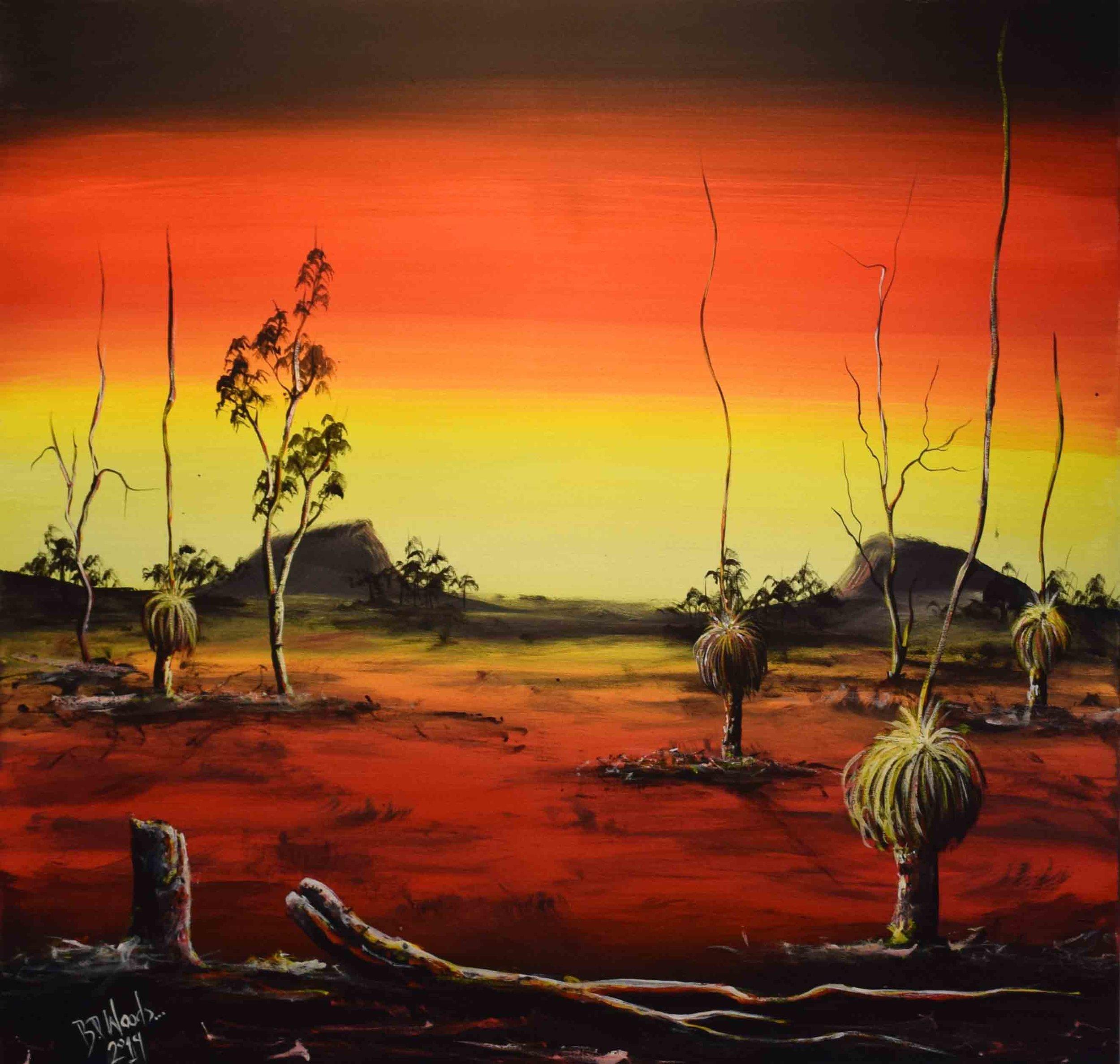 33. Boyden Woods,  Aftermath of the Bushfire , 2019, acrylic on canvas, 90 x 90 cm $1,460