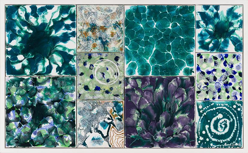 35. Naomi Grant,  Microcosm , 2018, acrylic, collage, 66 x 107 cm $2,800