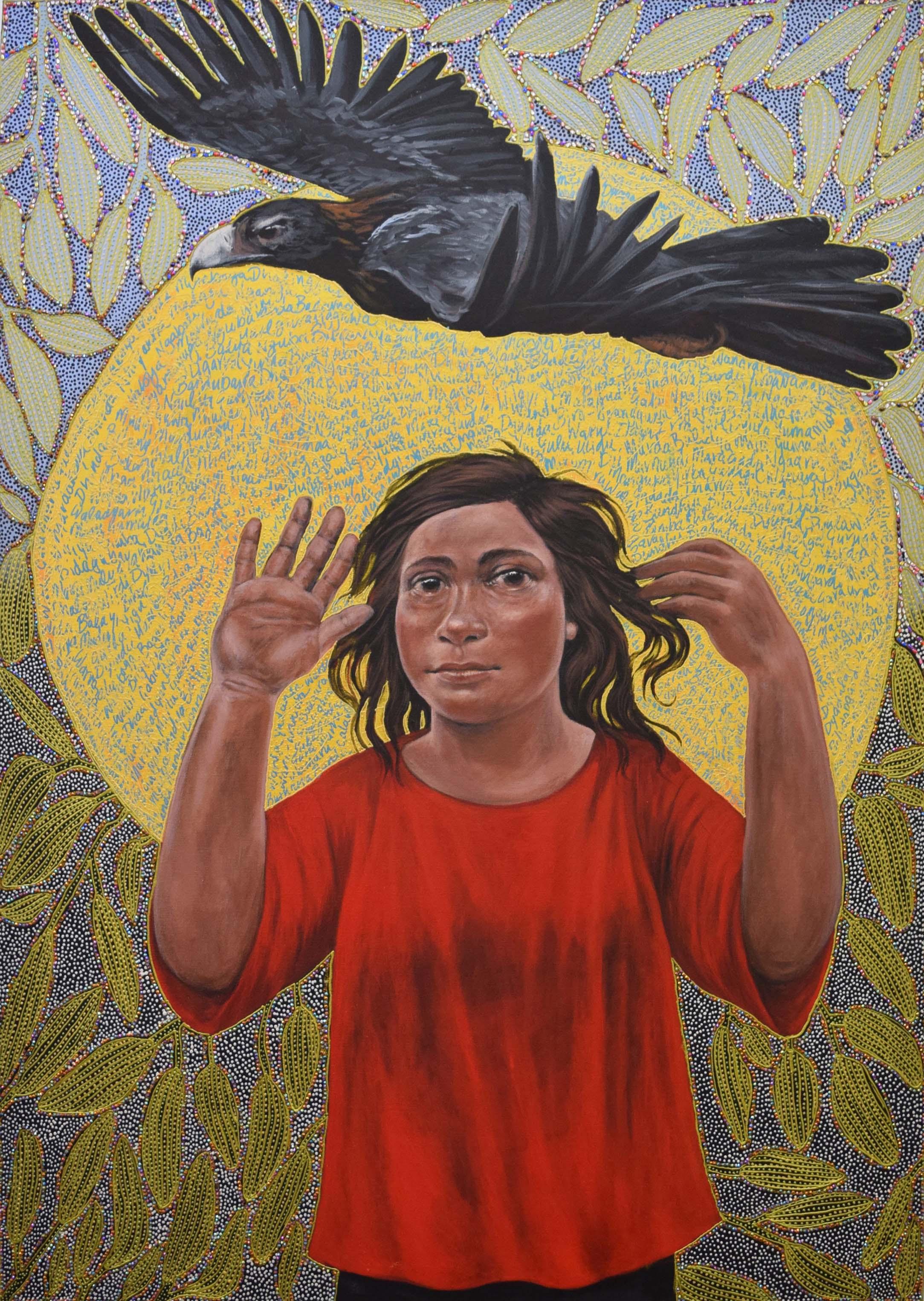 28. Julie Dowling,  Mardubaya Irra (growing language),  2018, acrylic, red ochre, plastic on canvas, 119 x 89 cm