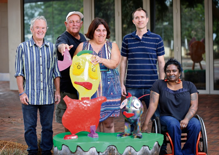 Image: Peter Dailey (Artist), David White (Mandy's Dad), Mandy White (Artist), Peter Zylstra (Program and Development Coordinator, DAADA) and Mallika Mcleod (Manager Participation, Arts and Health, DAADA). Photo: David Baylis