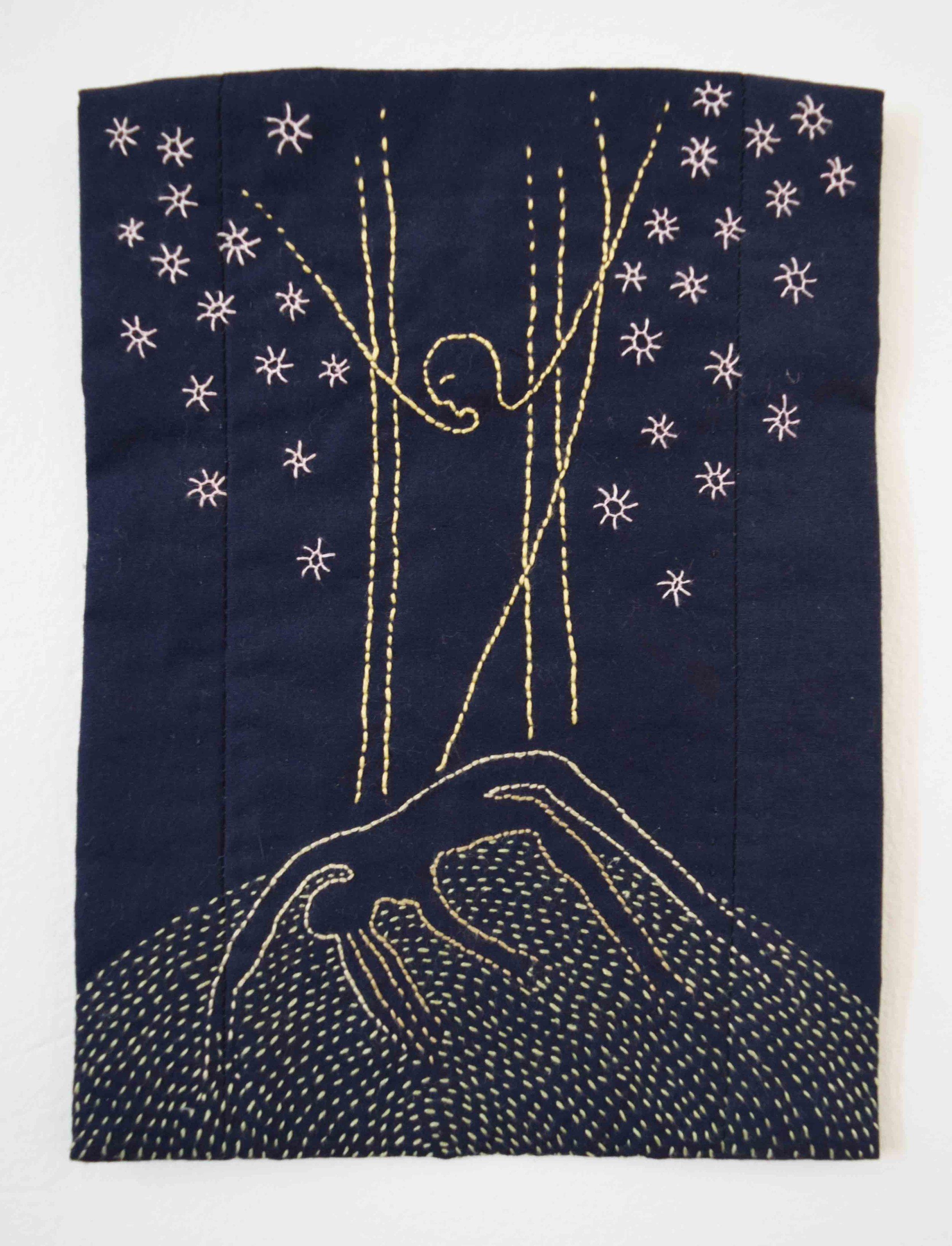 29. Anne Williams,  Metamorphosis,  2018, hand stitched cotton, 21 x 16 cm $125