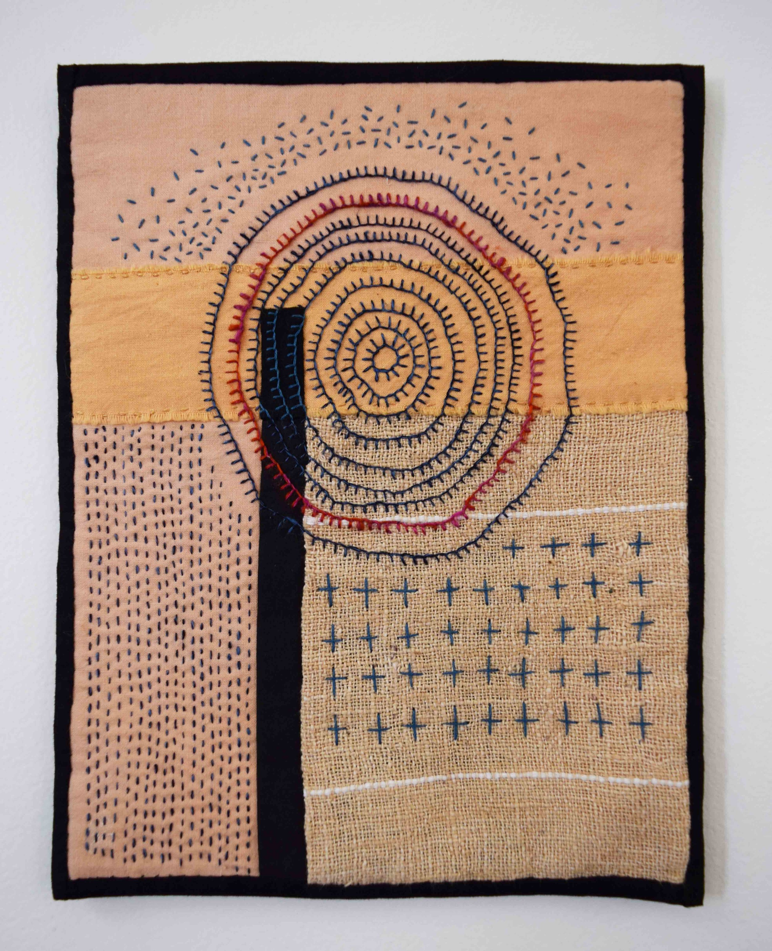 28. Anne Williams,  Untitled,  2018, hand stitched cotton and silk, 27 x 21 cm $155