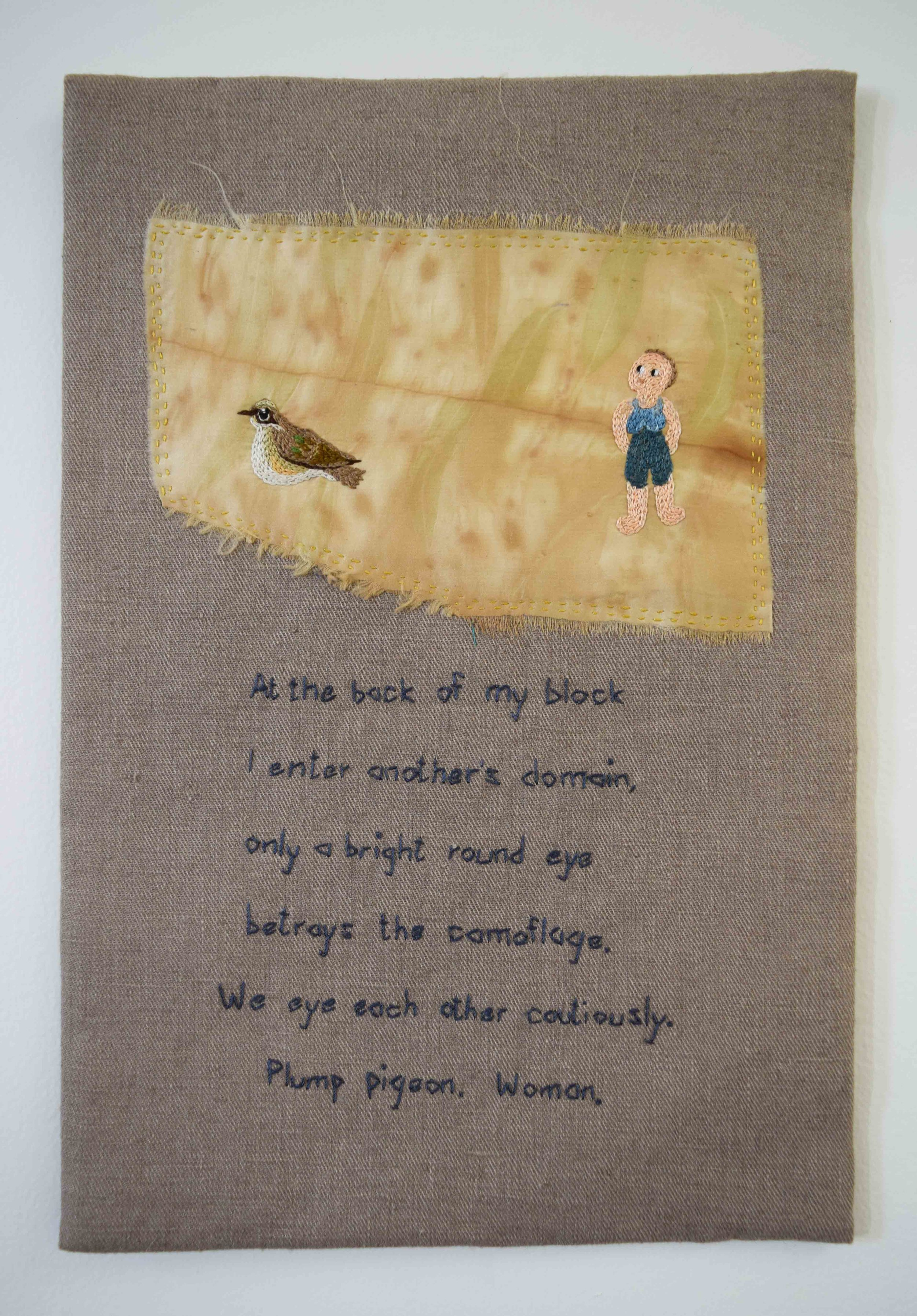 32. Anne Williams,  At the Back of My Block,  2018, hand stitched linen, silk and cotton, polywadding, plant dyeing, 37.5 x 26 cm $185