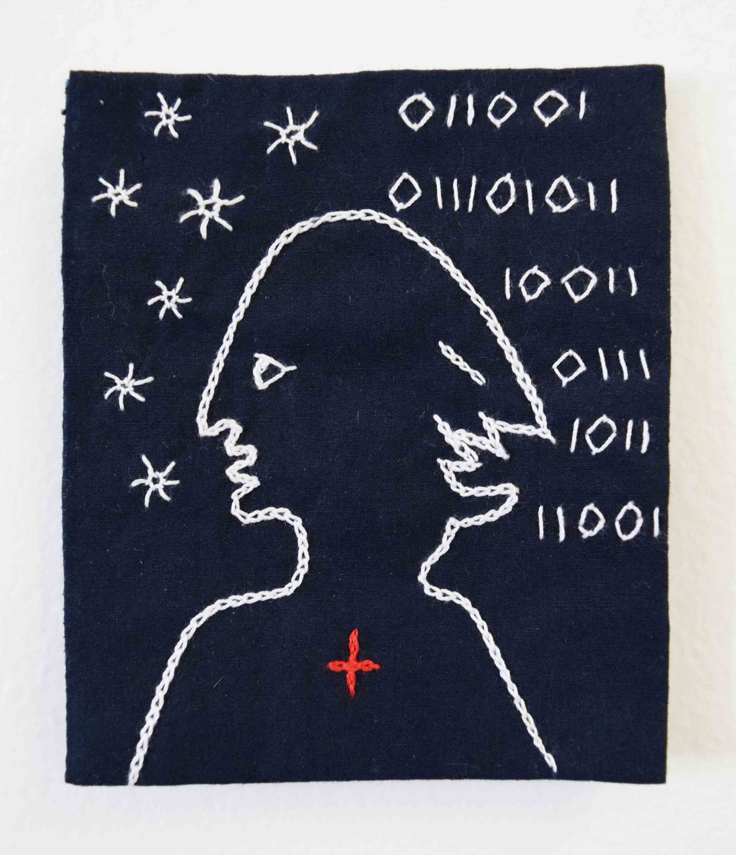 34. Anne Williams,  Mephistopheles , 2018, hand stitched cotton, 10.5 x 9 cm $80