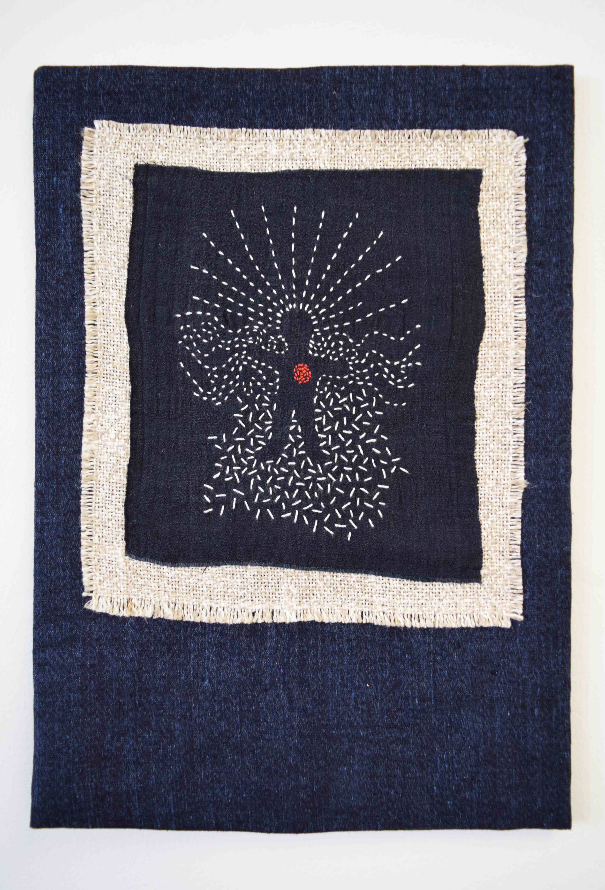 35. Anne Williams , Untitled,  2018, hand stitched linen and silk, 34.5 x 25.5 cm $130