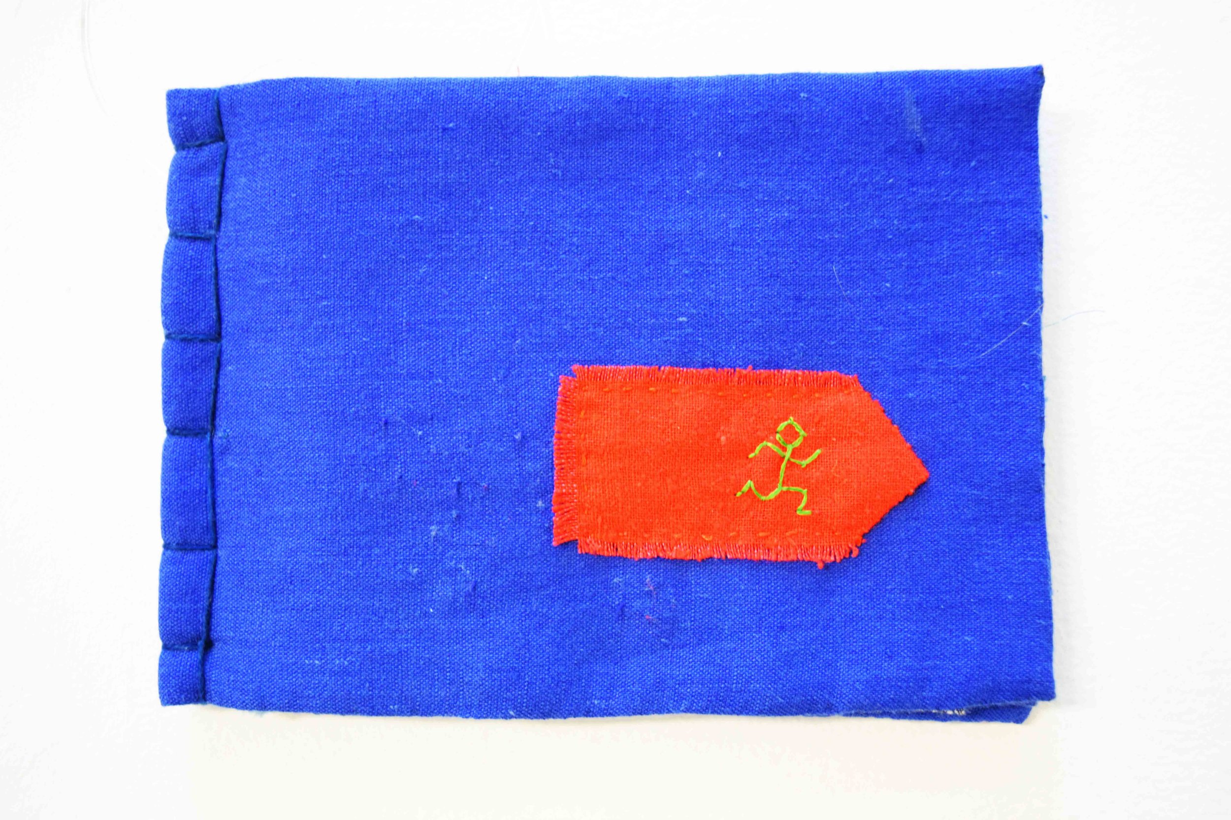 39. Anne Williams,  Spellcheck,  hand stitched cotton and silk, applique, book binding, 12 x 16.5 cm $135