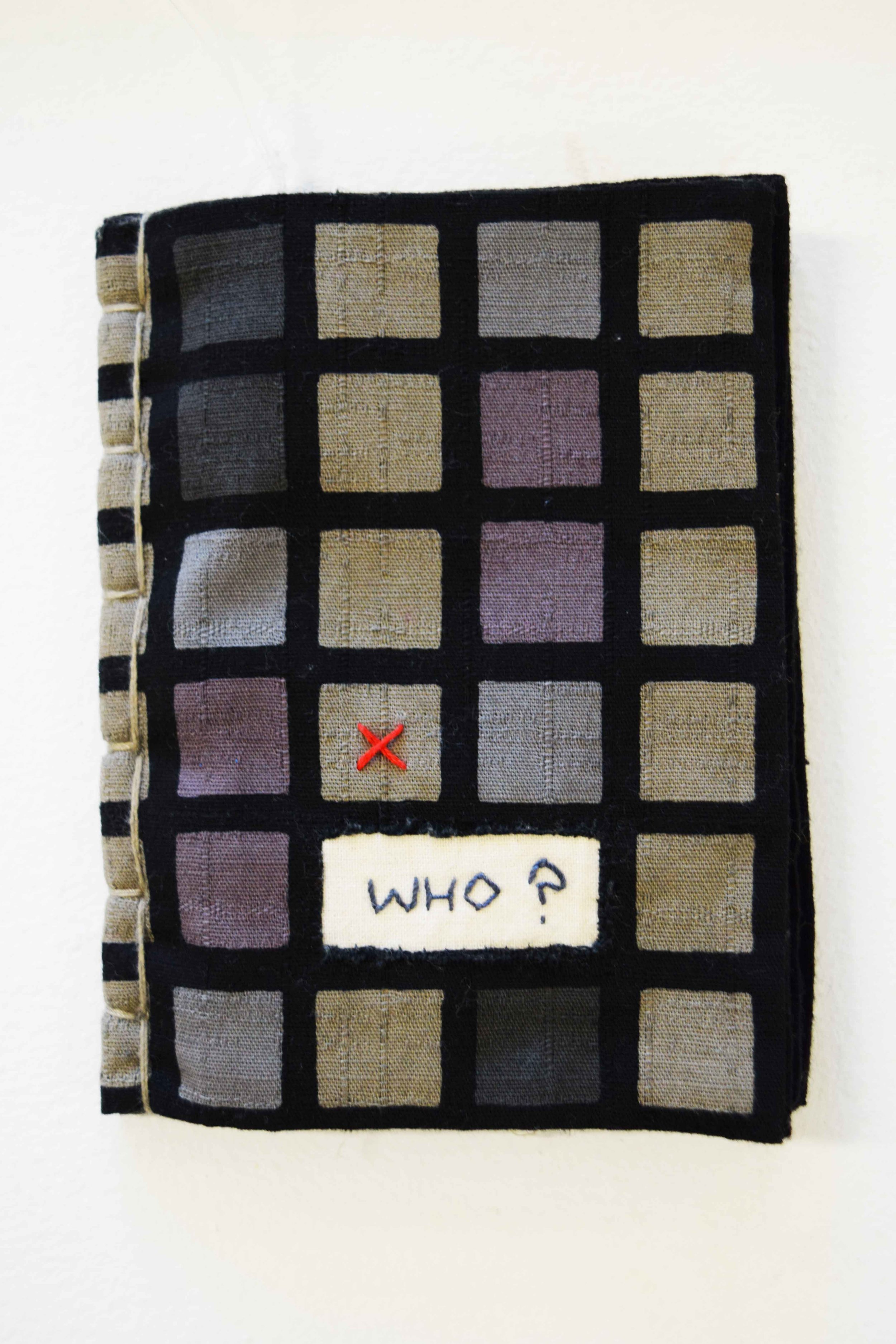 40. Anne Williams,  Who? , hand stitched cotton and hemp, applique, book binding, 14 x 10.5 cm $110