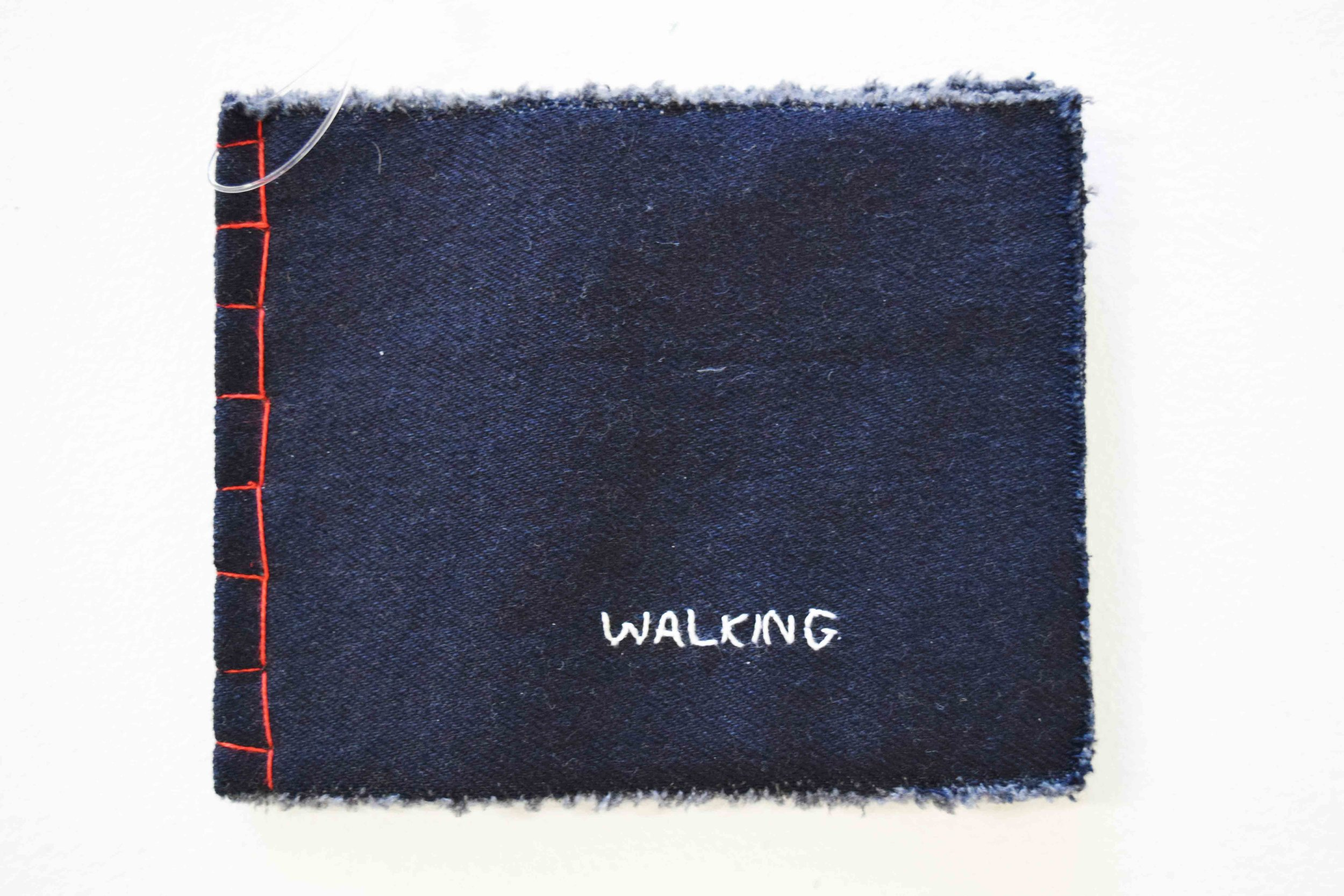 41. Anne Williams,  Walking,  hand stitched cotton and silk, book binding, 12 x 15 cm $110