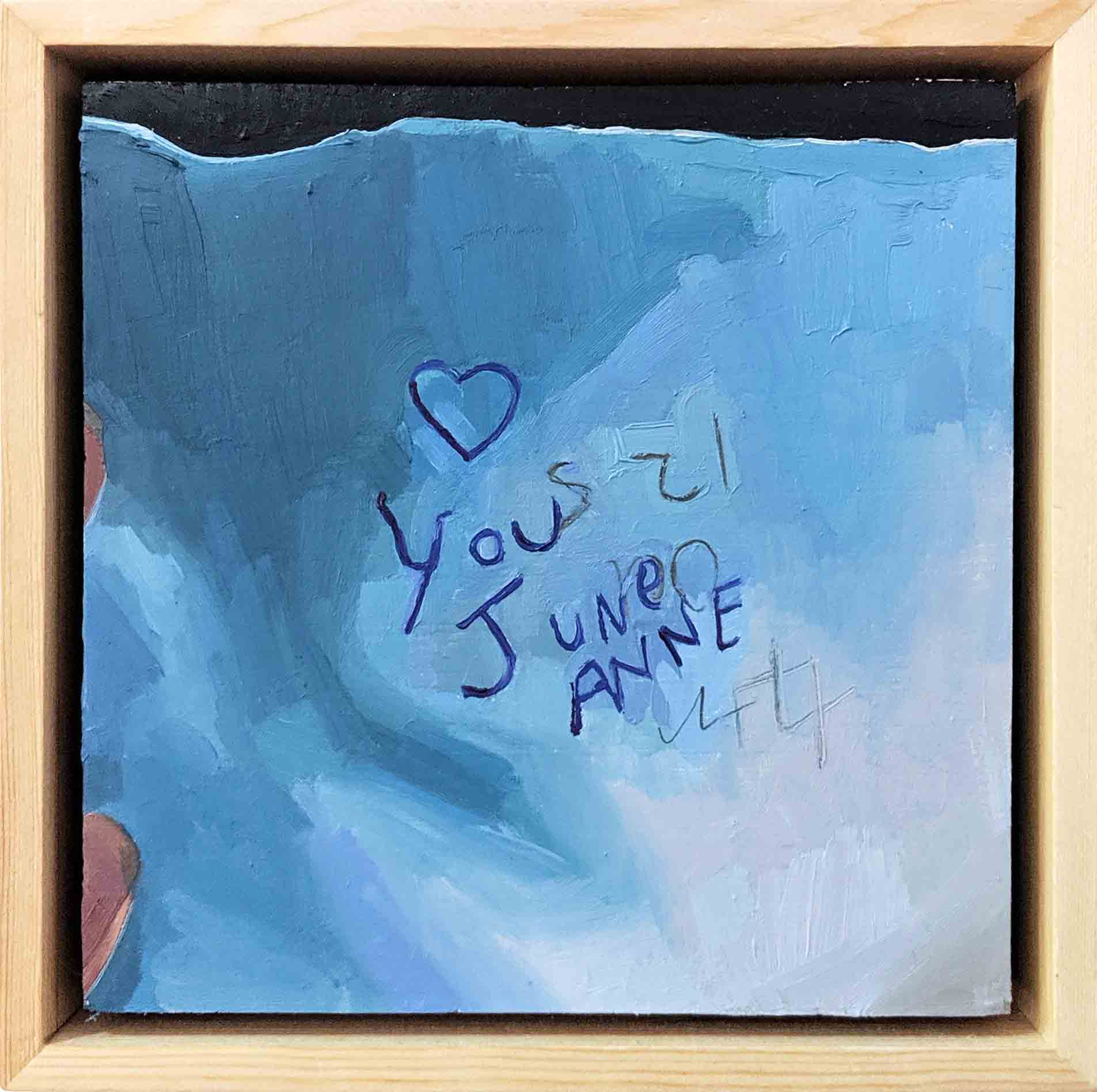 """1. Ellen Norrish,  @randomandfabulous """"I don't know who you are, I don't know what you want."""" But I will find you and cuddle the hell outta you x I got this note left on my windscreen, now the hunt begins! #windscreennote #iwillfindyou #loveit,  2019, oil on board, 15 x 15 cm $260"""