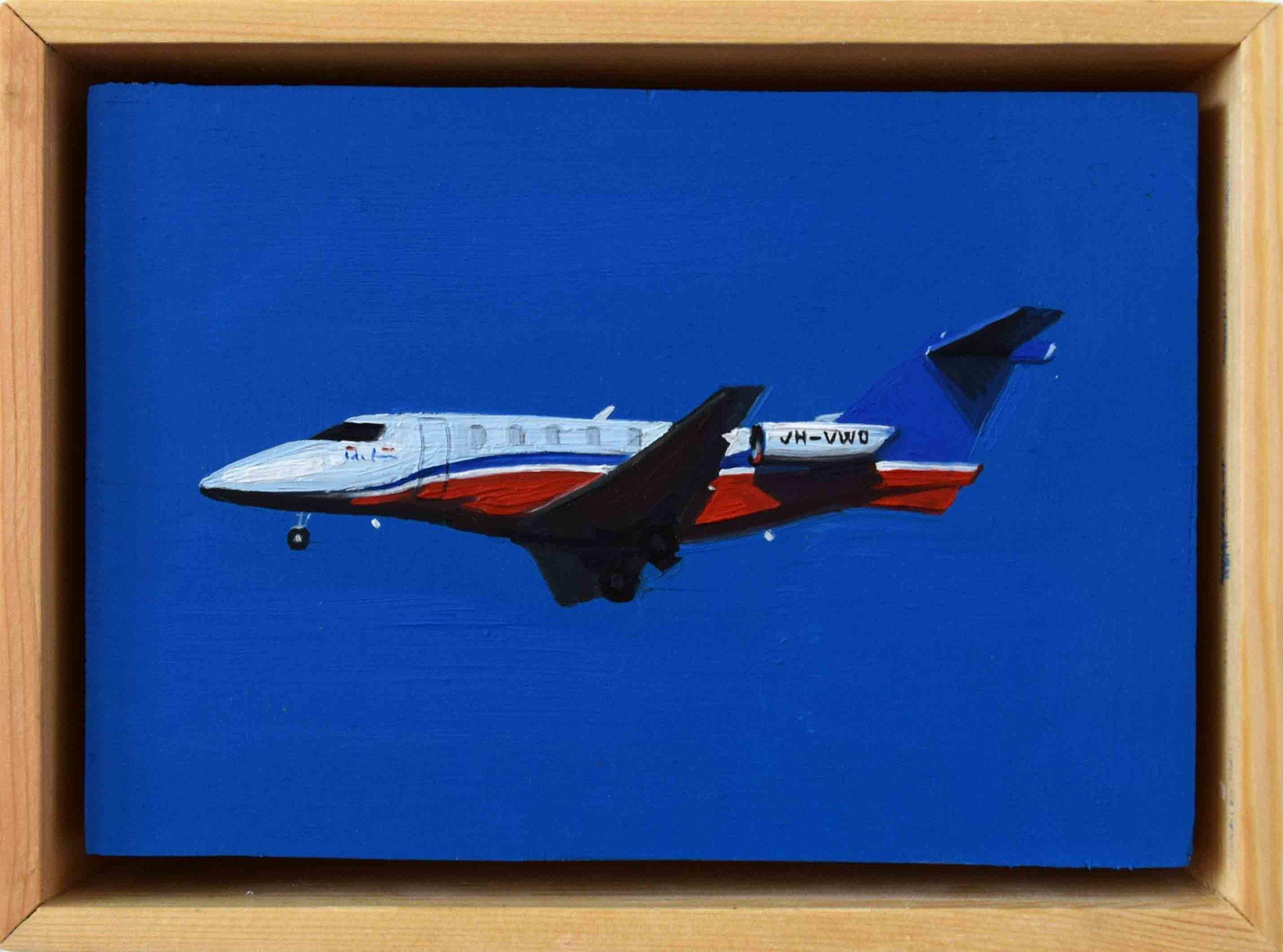 6. Ellen Norrish,  @feilencolin Royal Flying Doctor enroute to Perth International airport,  2019, oil on board, 13 x 17 cm