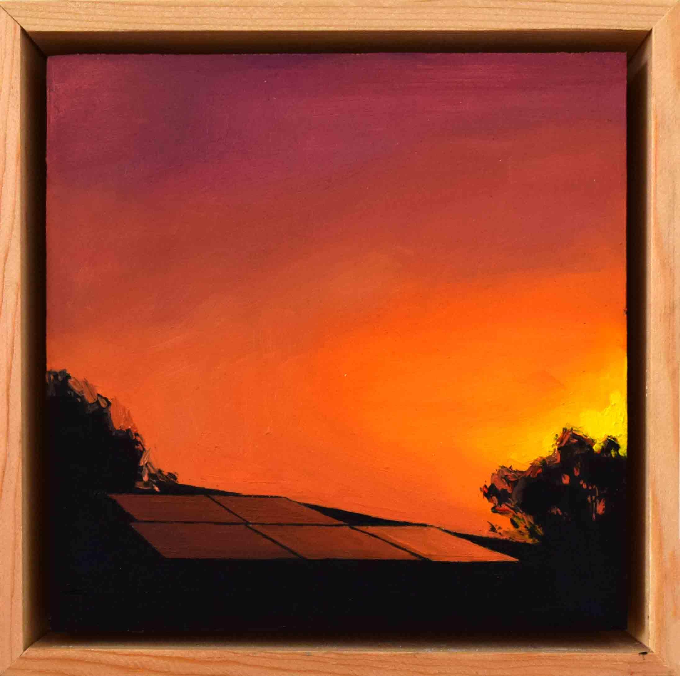 8. Ellen Norrish,  @kalinkosturkov #sunpower #sunset , 2019, oil on board, 15 x 15 cm $260
