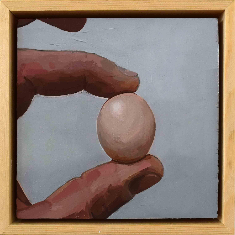9. Ellen Norrish,  @livvymarie88 Should I fry or poach it Tiniest chicken egg , 2019, oil on board, 15 x 15 cm $260