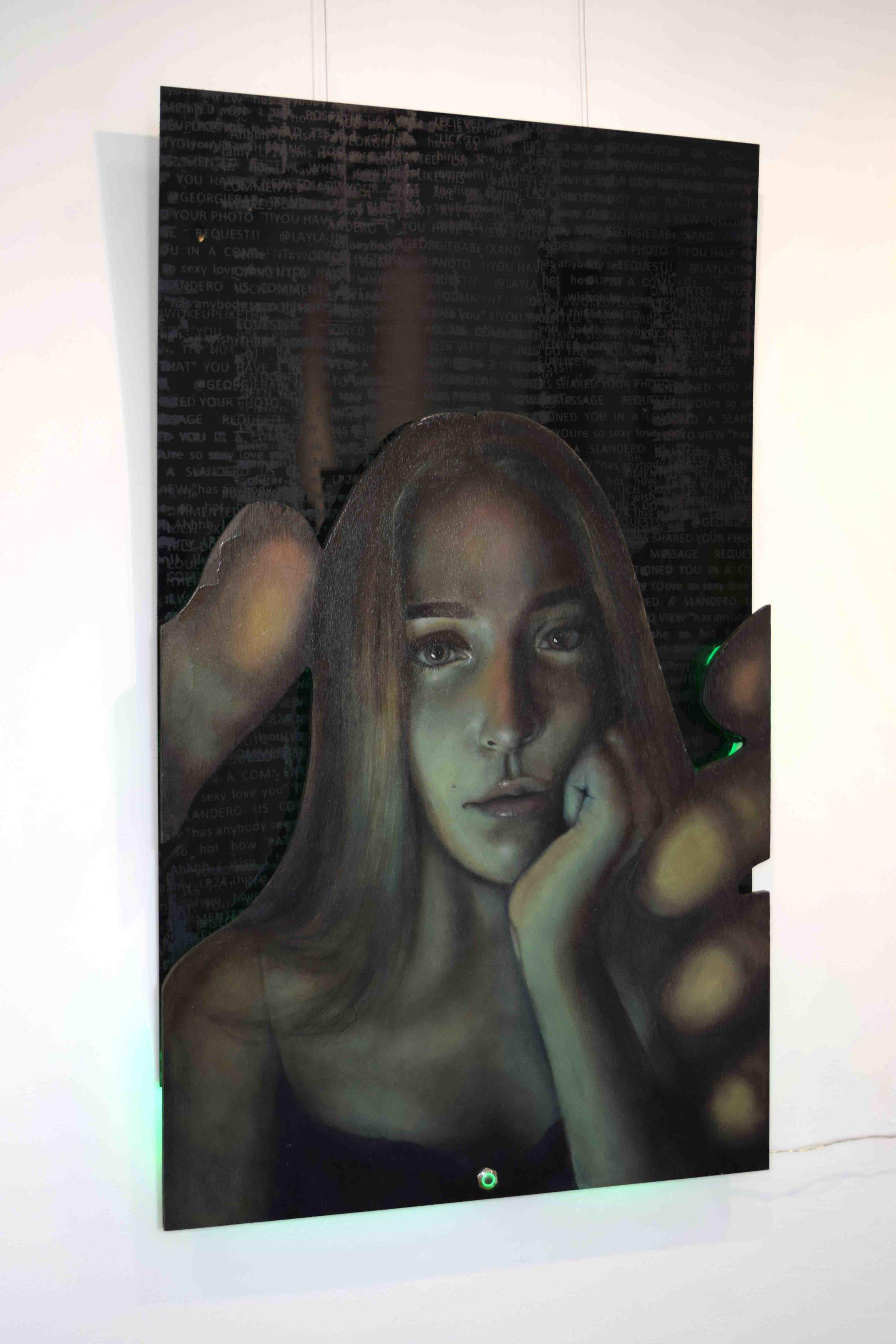 19. Savanna Kileff,  Like Me? , oil on marine plywood, acrylic paint on acrylic, LED light rope, 100 x 50 cm NFS   WINNER - EXPERIMENTAL