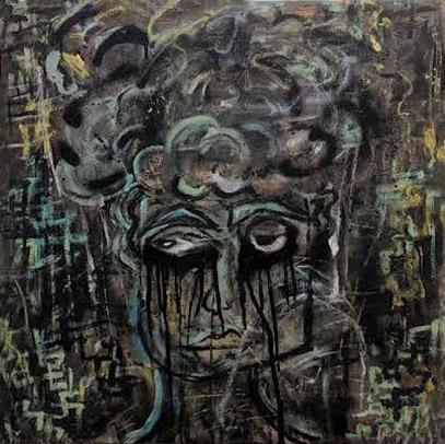 39. Amie Joanne Gallanagh,  My teeth ache... , acrylic, oil pastel and spray paint on canvas, 60 x 60 cm NFS   RUNNER UP - TRADITIONAL MEDIA