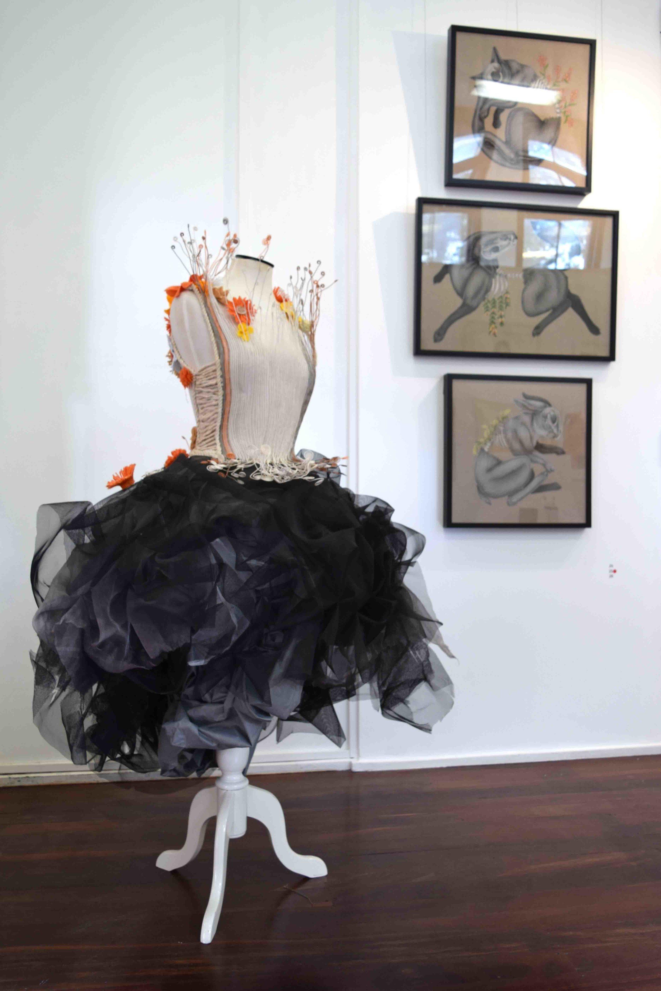 23. Kristin Hunter,  Sew pretty , flyscreen, telstra wire, tent, shower, curatin, felt, 80 x 145 x 80 cm $900  WINNER - FASHION