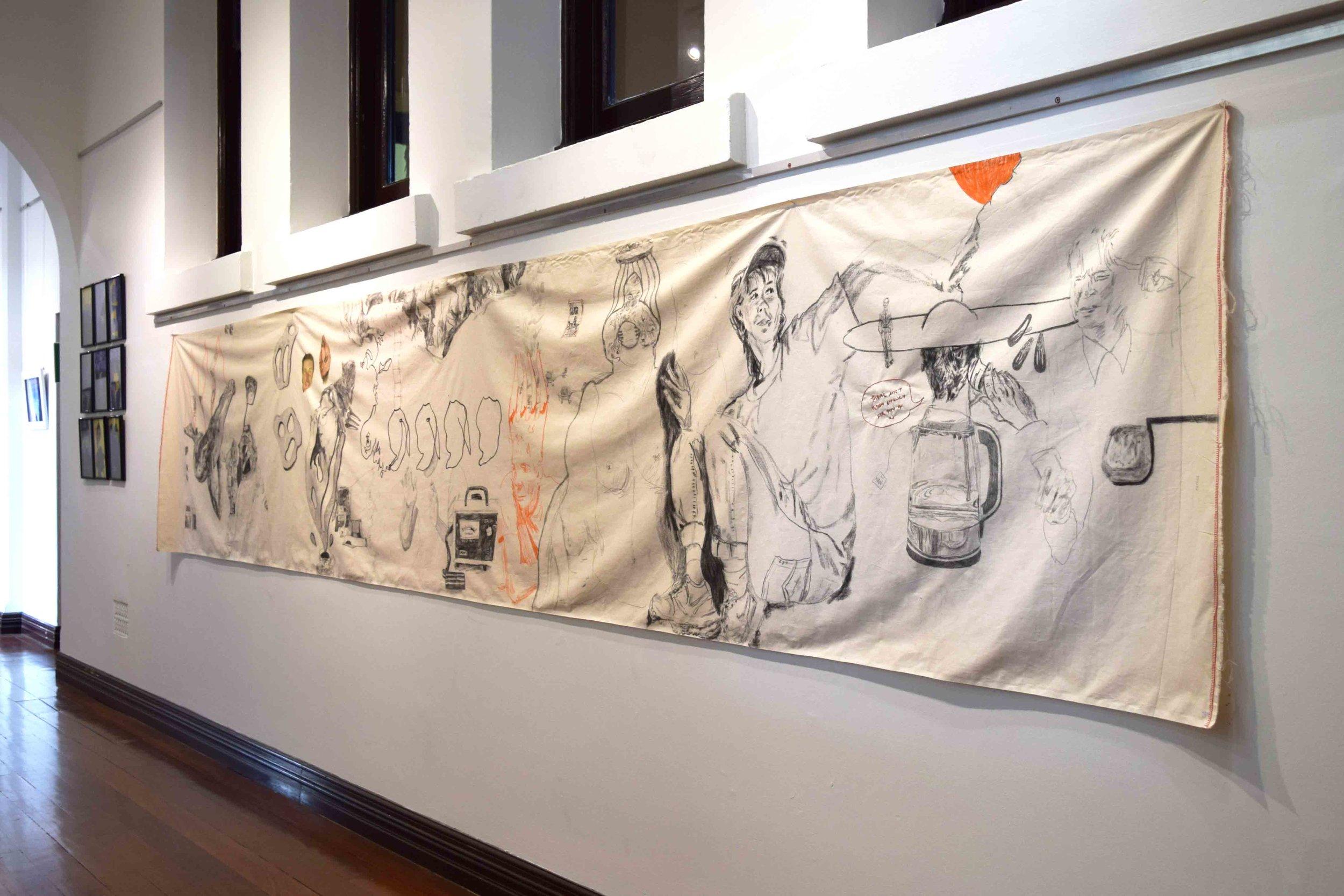 73. Zoe Sydney,  Image Storage Mechanisim (large) , mixed media drawing on cotton, 490 x 95 cm $500  WINNER - OVERALL WINNER - TRADITIONAL MEDIA