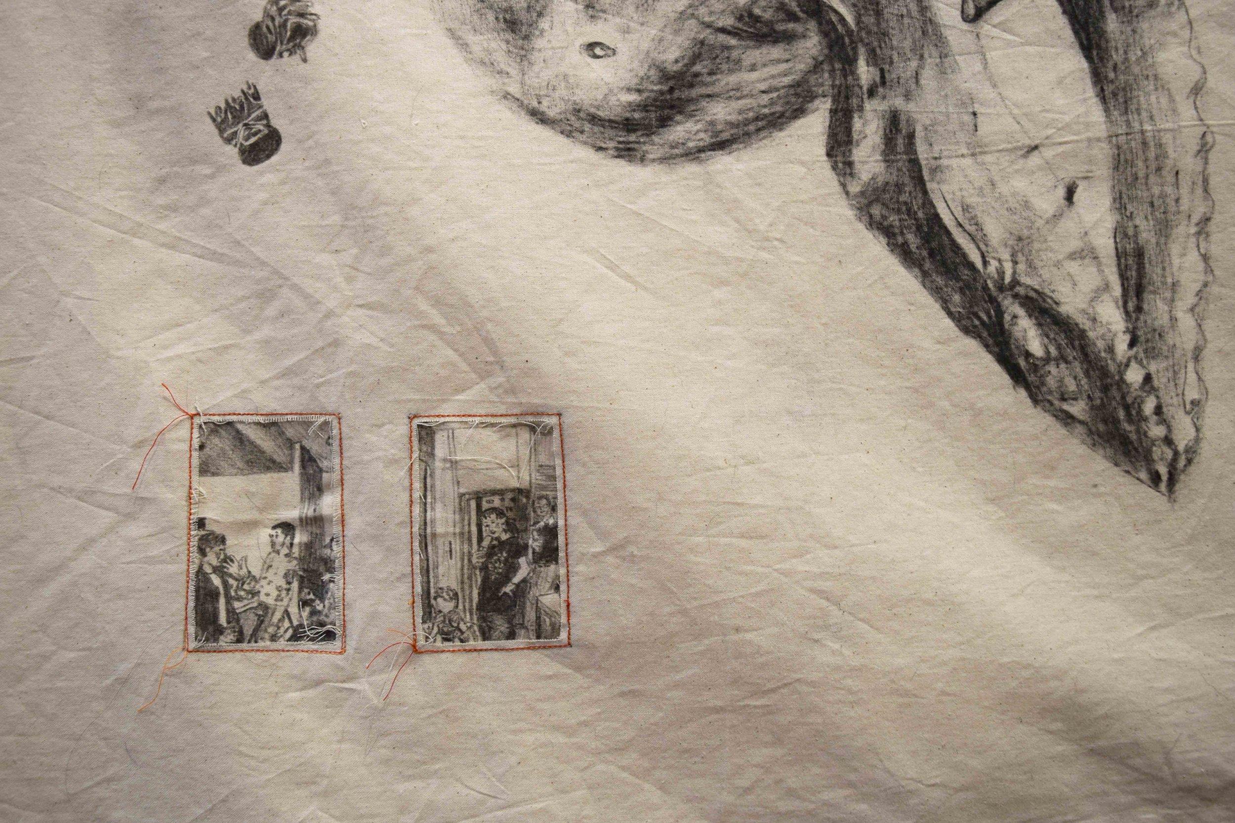 73. Zoe Sydney,  Image Storage Mechanisim (large)  (detail), mixed media drawing on cotton, 490 x 95 cm $500  WINNER - OVERALL WINNER - TRADITIONAL MEDIA