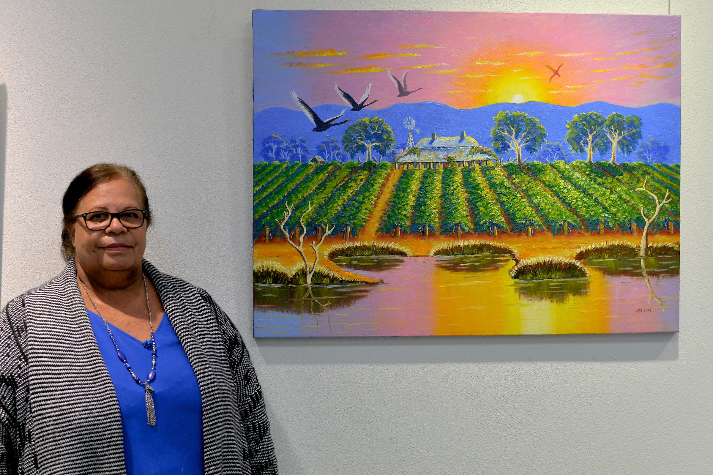 Jeanette Garlett and her artwork  Memories of the Swan Valley