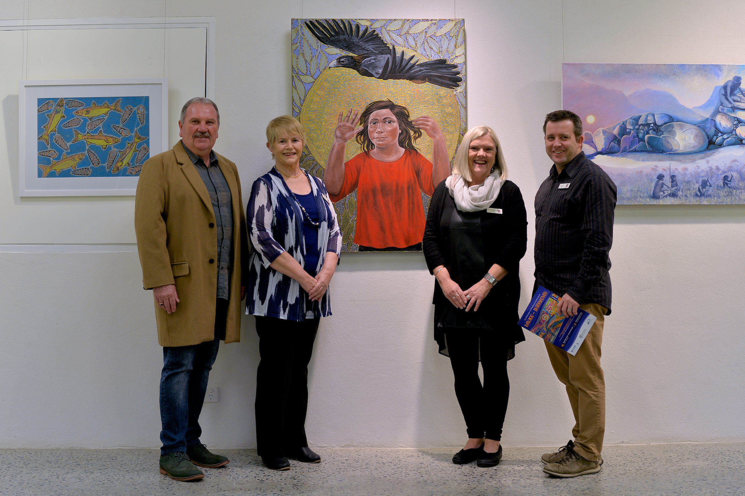Mayor Barry Sammels, Councillor Joy Stewart, Deputy Mayor Deb Hamblin and Councillor Mark Jones in front of Julie Dowling's  Mardubaya Irra (Growing Language)