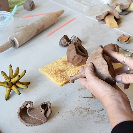 Clay Pod Forms with Narayani Palmer - Try your hand at basic hand-building techniques while looking discovering the intricacy and beauty of seed & pods. Take home your clay pods forms to air dry.FREE