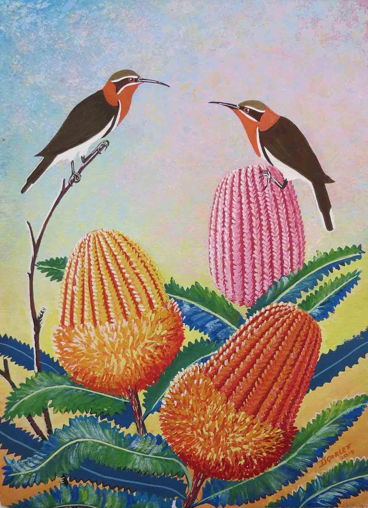 1. Jeanette Garlett,Banksias, 2019, gouache on paper, 42 x 29.7 cm $1,000