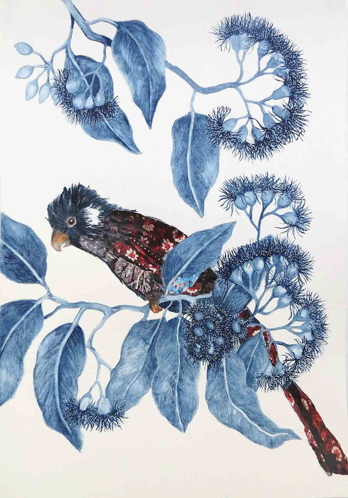5. Jude Willis, Corymbia ficifolia with Carnaby's Cockatoo, 2019, watercolour and collage on paper, 42 x 29.5 cm $290