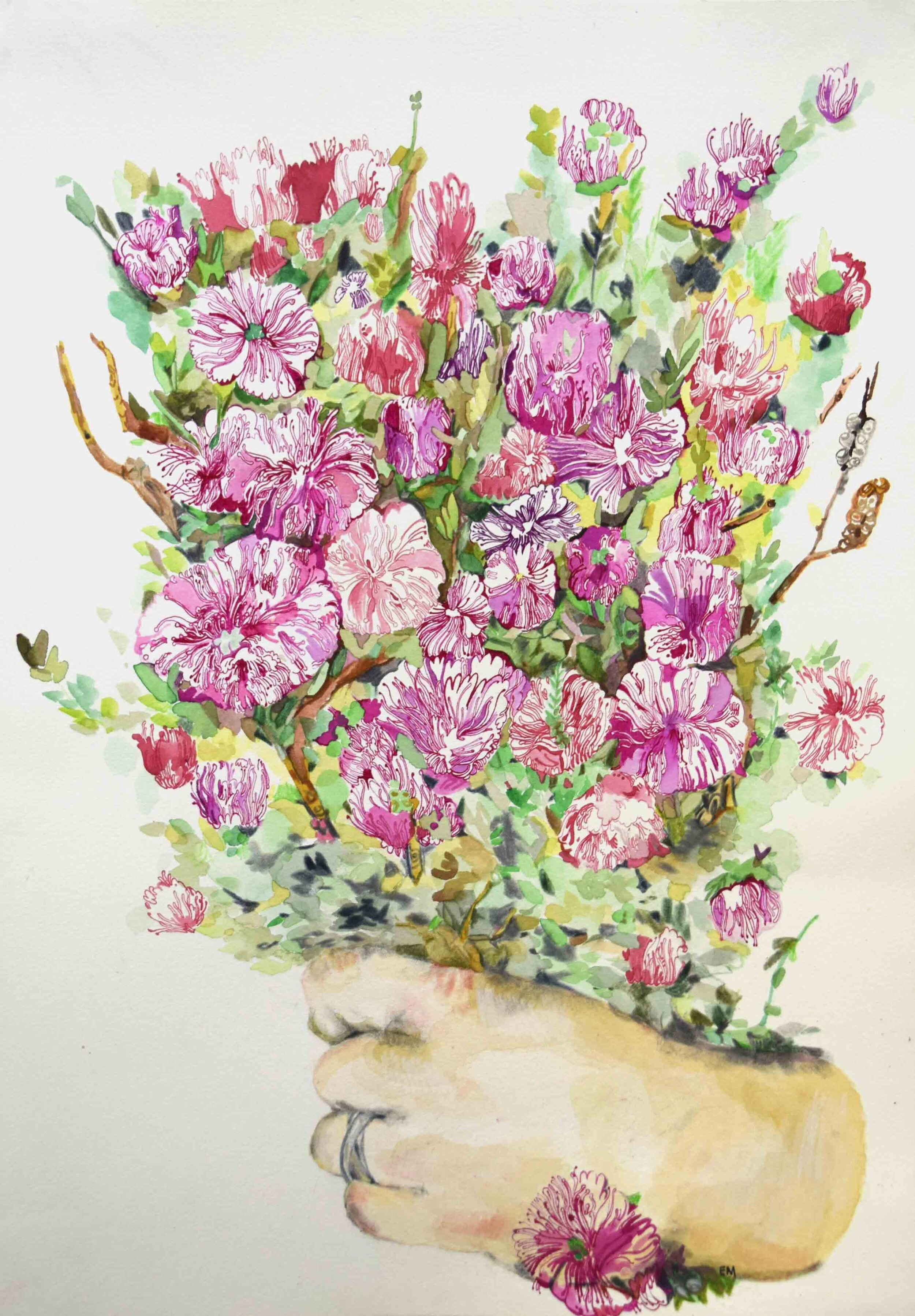 17. Elizabeth Marpole, Steal Life Bouquet of Melaleuca, 2019, pencil, water colour, ink on paper, 42 x 29.7 cm $270 2