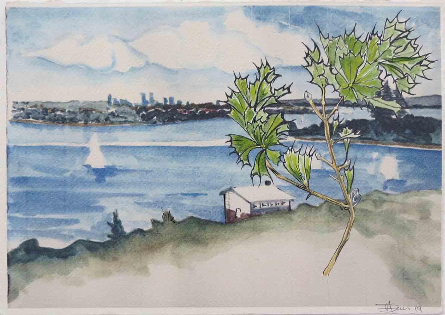 23. Tony Jones, Chidley Point, 2019, watercolour, pen, ink, modified digital prints, triptych 2 of 3, edition of 5, 29 x 21 cm each $225 set of 3, $75 each