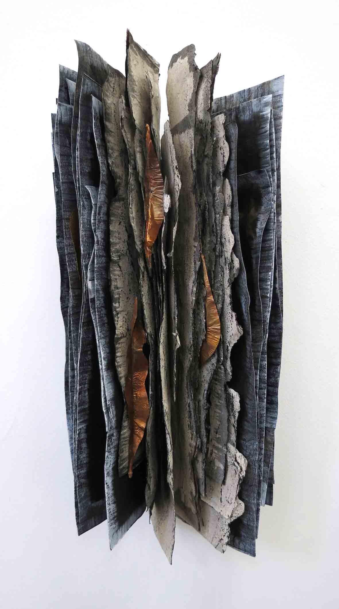 35. Monique Tippett, Jarrah, 2019, recycled paper, ash, charcoal, copper, 40 x 25 x 14 cm $500