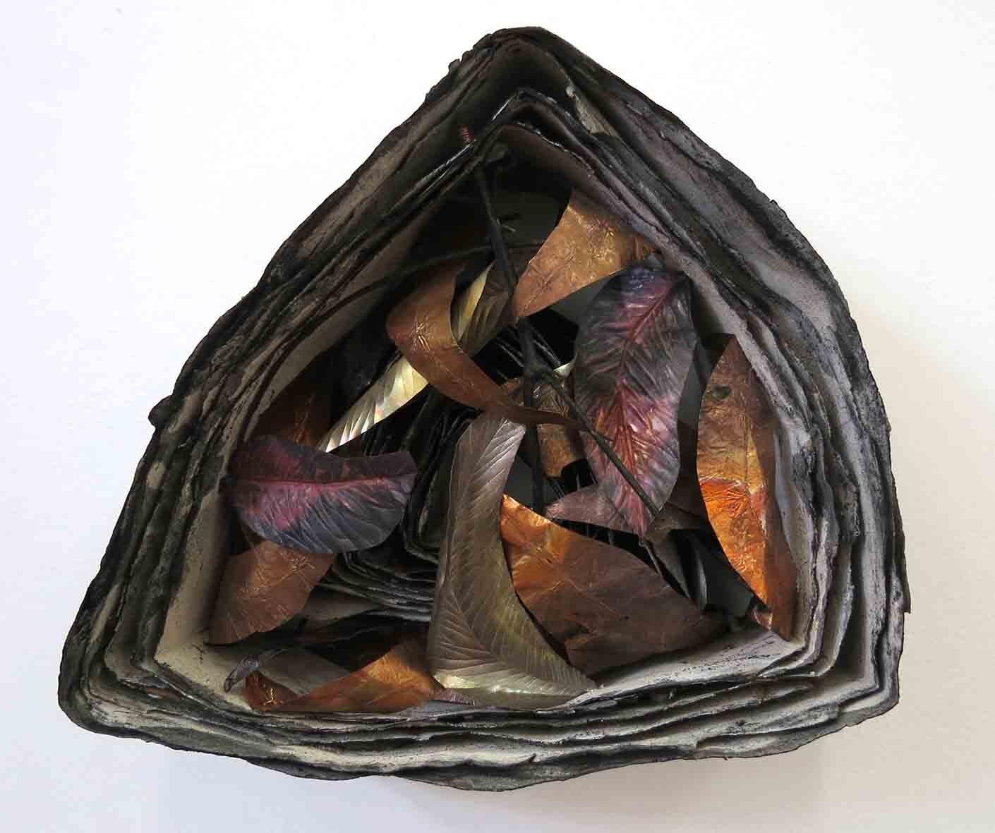 36. Monique Tippett, Marri, 2019, recycled paper, ash, charcoal, copper, 25 x 25 x 10 cm $400