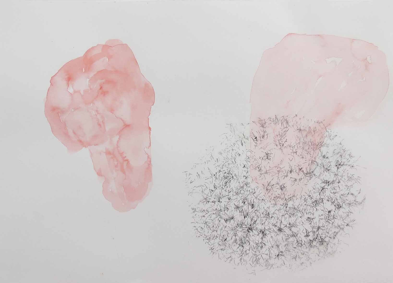 37. Angela Stewart, Yesterday…, 2019, charcoal pencil, vermillion water colour on cold pressed 300gsm watercolour paper, 30 x 42 cm $350